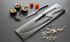 Amazon.com: Deglon Meeting Knife Set, Stainless Steel Knives and Block, Set of 4: Modern Knives Set: Kitchen & Dining