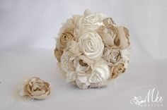 Ivory gold cream wedding bridal handmade bouquet with by MkeFlower