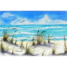 Mon paysage marin, «Plage de rêve» est une peinture de la Floride d'avoine de mer souffle doucement, blanc sable des plages et des eaux couleur turquoise. Il est 7 1/2 haut x 11 1.2» large (19 x 28,5 cm). C'est une peinture de plage, paradis de vacances sur papier aquarelle, art de la grande muraille pour rêver til les rêves deviennent réalité.  Pour voir plus dans ma galerie de paysages et de marines Etsy, s'il vous plaît cliquez sur ce lien…