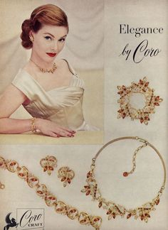 Coro Jewelry Vintage Ad Jewelr… added to our site quickly. hello sunset today we share Coro Jewelry Vintage Ad Jewelr… photos of you among the popular hair designs. You can look at all images and designs related to new model hair designs from … 1950s Jewelry, Jewelry Ads, Ruby Jewelry, Vintage Costume Jewelry, Vintage Costumes, Jewelry Trends, Antique Jewelry, Vintage Jewelry, Fashion Jewelry