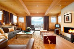 I love chalet and cabin style! It's very cozy and comfy! And chalet living rooms are really special, as they are spacious, warm and so inviting! In such a room you think only about relaxation, about reading a book in front of . Winter Living Room, Living Room With Fireplace, Home Living Room, Living Room Designs, Living Room Decor, Cozy Living, Living Area, Bedroom Decor, Luxury Interior