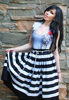 Купить Пышная юбка из трикотажа «В полоску» - в полоску, чёрно-белый, полосатая юбка