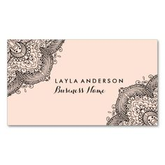Shop Pink & Black Henna Design Business Cards created by PaperLoveDesigns. Vintage Business Cards, Free Business Cards, Modern Business Cards, Real Estate Business Cards, Business Card Maker, Minimal Business Card, Business Card Logo, Business Card Design, How To Make Henna