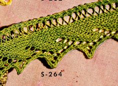 Knitted Edging No. S264 Pattern from Edgings for All Purposes, Clark's O.N.T. J Coats, Book No. 288, in 1952.