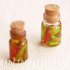 Miniature CHILI PEPPER bottle, dollhouse miniature food – Badger's Bakery