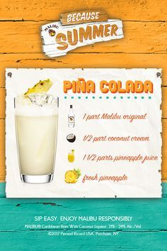 What's summer without a Pina Colada? A classic summer time mix that proves how much Malibu loves pineapple, it's easy to make and very easy to enjoy, especially with friends. Fill a shaker with ice cubes. Add Malibu, coconut cream and pineapple juice. Easy Pina Colada Recipe, Frozen Pina Colada Recipe Malibu, Pina Colada Malibu, Pina Colada Recipe Non Alcoholic, Pins Colada Recipe, Pina Colada Recipe On The Rocks, Tropical Alcoholic Drinks, Cocktail Recipes, Drink Recipes