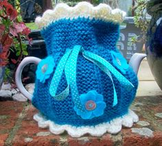 Knitted Tea Cosie  China Blue by LynneJamesDesigns on Etsy,