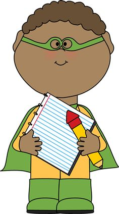 Superhero Clip Art for Teachers | superhero with notepad and pencil clip art image superhero boy holding ...