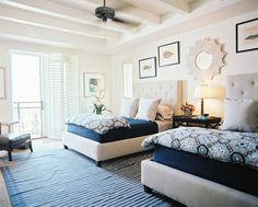 Ceiling Fan Photo - A pair of upholstered beds with blue patterned bedding