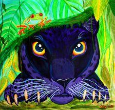 Black Panther Painting - Eyes Of The Rainforest by Nick Gustafson Rainforest Animals, Rainforest Preschool, Rainforest Classroom, Rainforest Crafts, Rainforest Theme, Amazon Rainforest, Jungle Art Projects, Jaguar, Art Club