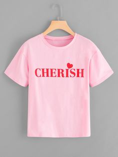 1a65ea8432c162 Casual Letter Regular Fit Round Neck Short Sleeve Pullovers Pink Regular  Length Letter Print Tee Neck