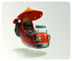 Chinese food delivery vehicle Picture  (2d, automotive, vehicle, sci-fi, china, orange)