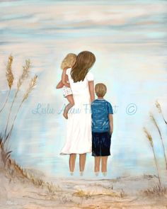 "Mother Art Print Daughter Sons Brother Boys Mother Painting Mom Kids Beach Ocean Art ""The Sea Shore Day"" Leslie Allen Fine Art Mother Art, Mother And Child, Mother Painting, Baby Boy Pictures, Beach Kids, Mermaid Art, Ocean Art, Original Paintings, Daughter"