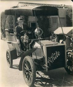 James Cagney in a 1904 White Model D steamer on the Warner lot, early 1930s.         One of Warners' steamers today: https://www.whitesteamer.us/whiteregister/displaycar.php?dbkey=934