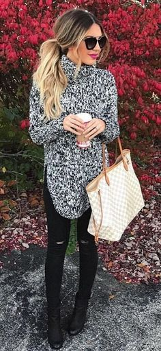 #winter #outfits grey turtleneck sweater and black distressed skinny jeans with black leather boots outfit #sweatersoutfit