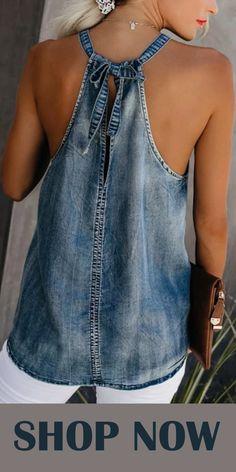 Classy Off-Shoulder Denim Halter Vest SKU Brand Name Mattecoco Collar type A collar Material denim embellishment Loose-Fitting Occasion Date type A base coat More [. Artisanats Denim, Denim Top, Denim Vests, Jean Diy, Denim Fashion, Fashion Outfits, Fashion Ideas, Womens Fashion, Kleidung Design
