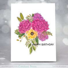 Doodlebugs: Tuesday with Toni: MFT Fantasy Florals Blending Colored Pencils, Birthday Cards, Happy Birthday, Mft Stamps, Smooth Lines, Popular Colors, Gal Pal, Copic Markers, Crafty Projects