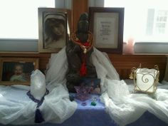 Many of the women involved with the Sisterhood of the Sacred Scarves drape their various scarves on their alter. Here is a picture of Michelle A. McCarthy's alter with her beautiful Gratitude scarf and Mala Beads. www.thespiritedwoman.com/prayer_scarf