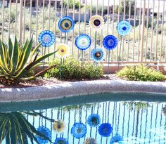 Image detail for -Garden Art Cobalt Blue Glass Plate Flower Yard Stake Repurposed ...