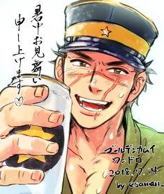"""エサマン on Twitter: """"暑中お見舞い申し上げます!!もうすぐ佐一くんビールが発売ですね!通販でも購入できて嬉しい…発売日より少し後になるけど、乾杯できるのが楽しみです♡ #ゴールデンカムイ版深夜の真剣お絵描き60分一本勝負… """""""
