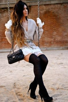 Knee high socks with a cozy sweater...perfect for the Fall