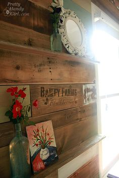 scrap and pallet wood wall in our art amp craft room, craft rooms home offices, design d cor, Built in ledges for artwork