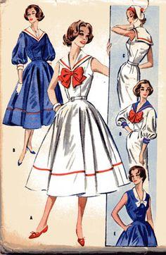 Misses Sailor Collar Sheath or Full Skirt Dress McCalls 4142 Vintage Sewing Pattern 1950s Style, Vintage Outfits, Vintage Dresses, 1950s Dresses, Vintage Mode, Vintage Ladies, 1950s Fashion, Vintage Fashion, Nautical Dress