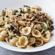 Orecchiette with Veal, Capers and White Wine Michael Symon's grilled halloumi cheese stands out from other recipes with a topping of red pepper, toasted pine nuts and fresh basil. Veal Recipes, Wine Recipes, Pasta Recipes, Cooking Recipes, Capers Recipes, Pasta Meals, Cooking Pasta, Cooking Stuff, Popcorn Recipes
