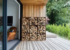 firewood storage indoor Ive just found The Square Log Store. A Handcrafted Square Modular Log store, have one on its own or stack them up in 6 or 9 even Outdoor Firewood Rack, Firewood Storage, Outdoor Storage, Outdoor Spaces, Outdoor Living, Log Wall, Wood Shed, Log Burner, Backyard Landscaping