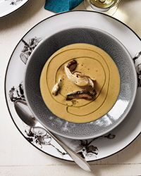 Porcini-and-Chestnut Soup Recipe on Food & Wine - Chef Michael Tusk uses porcini in two forms in this velvety soup. He blends dried ones with chestnuts for a deep layer of earthy flavor, and adds sautéed ones at the end as a topping. Chestnut Soup Recipe, Chestnut Recipes, Wine Recipes, Soup Recipes, Cooking Recipes, Bean Recipes, Salad Recipes, Vegan, Kitchens