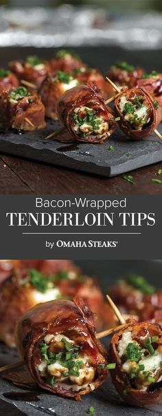 Bacon-Wrapped Tenderloin Tips with Maytag Cheese – Rezepte Beef Appetizers, Appetizers For Party, Appetizer Recipes, Tailgate Appetizers, Party Snacks, Tailgating, Bacon Wrapped Tenderloin, Bacon Wrapped Filet, Beef Tenderloin Recipes