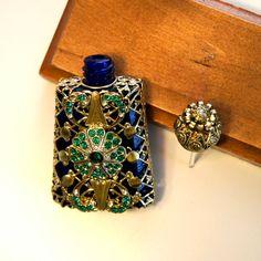 Vintage Cobalt Glass Jeweled Rhinestones Filigree by GlimpseofArt