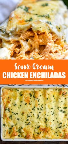 *NEW* Sour cream chicken enchiladas bake to golden perfection in just 30 minutes with a sauce that will be your new obsession! Sour cream chicken enchiladas bake to golden perfection in just 30 minutes with a sauce that will be your new obsession! Sourcream Chicken Enchiladas, Chicken Enchilada Bake, Enchilada Recipes, Chicken Casserole, Sour Cream Enchilada Sauce, Sour Cream Enchiladas, Easy Dinners For Two, Easy Healthy Dinners, Easy Healthy Recipes
