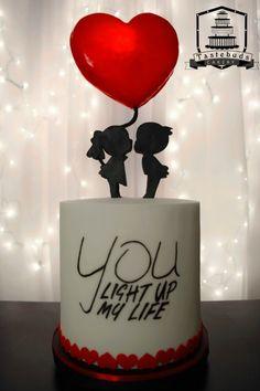 Glowing Heart Balloon Cake
