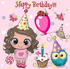 Cute Girl, owl and bird with balloon and bonnets. Birthday card with Cute Girl, owl and bird with balloon and bonnets vector illustration Happy Birthday Baby Girl, Birthday Wishes For Kids, Happy Birthday Friend, Sister Birthday Quotes, Happy Birthday Images, Birthday Pictures, Birthday Cards, Image Facebook, Birthday Wishes Greetings