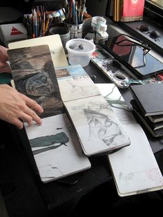 sketchbooks in Dadu Shin's Greenpoint studio Art Hoe Aesthetic, Aesthetic Painting, Aesthetic Drawing, Aesthetic Outfit, Aesthetic Clothes, Aesthetic Rooms, Aesthetic Grunge, Art Journal Inspiration, Art Inspo