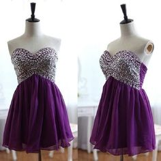Sweetheart neck with Beaded Strapless Purple Chiffon A-line Homecoming Dresses,Hot 44