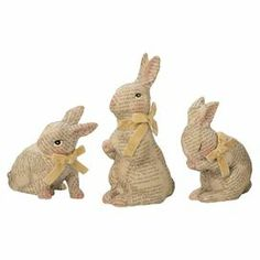 "Showcasing decoupage craftsmanship and hand-painted details, these charming bunny statuettes are perfect for adding a touch of whimsy to your entryway console table or lovely brunch centerpiece.   Product: 3-Piece statuette setConstruction Material: Paper and foamColor: BeigeFeatures: Hand-paintedDimensions: 6"" H x 4"" W x 7.5"" D (largest)"