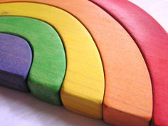 Gorgeous handmade wooden rainbow stacking toy