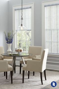 Sheer roller shades control glare without loosing your light and airy look. #rollershades #windowshades #diningroom