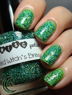 ThePolishHoochie  Model's Own Lime Green topped with Trelly's M.I.S.C Spiked Witch's Brew. Nails.