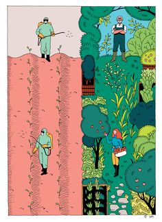 """Pages from the book """"Demain"""" inspired by the documentary of Melanie Laurent and Cyril Dion. A story of a family travelling the planet to meet people that are actually changing the world.Published by Actes Sud Junior in November 2015."""