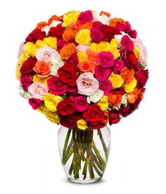 100 Rose Blooms Arranged with a variety of spray rose colors including red, pink and yellow roses.    giftbasketsandbouquets.com