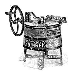 Antique Images: Digital Image Transfer of Vintage Washing Machine Clip Art Winner