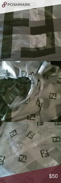 Fendi silk scarf color grey/green Used good condition fendi Accessories Scarves & Wraps