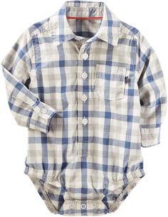 Osh Kosh Oshkosh Bgosh Baby Boy Plaid Button-Front Bodysuit