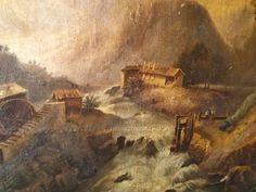 huile sur toile XVIII-XIX° ANONYME Paysage animé a restaurer Old oil canvas 10F