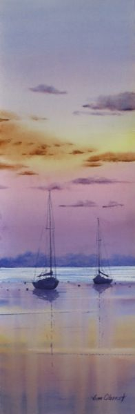 "Tranquility - 22x7.5"" original watercolor painting by Jim Oberst - $225 including shipping in the U.S. - SOLD"