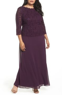 ef31038cf9 Alex Evenings Embellished Lace   Chiffon Gown (Plus Size). Formálne ŠatyNadmerné  OblečenieRóby