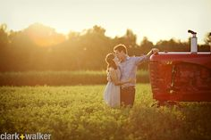 Might as well have a tractor in our engagement pics...